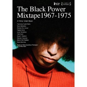 "DVD cover shows an African American looking down, a large Afro obscuring his eyes. Text says, ""The Black Power Mixtape 1967-1975"""