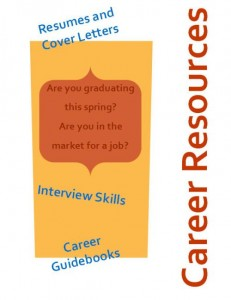 "Career Resources poster in orange, red, and blue with the text, ""Career Resources"" ""Resumes and Cover Letters"" ""Are you graduating this spring? Are you in the market for a job?"" ""Interview Skills"" ""Career Guidebooks"""