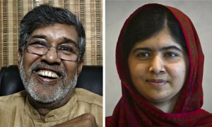 Photographs of Kailash Satyarthi on the left and of Malala Yousafzai on the right.