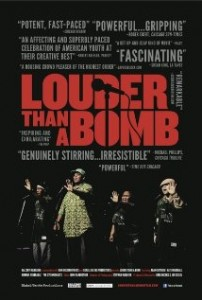 DVD cover of Louder Than a Bomb shows four individuals standing in front of microphones
