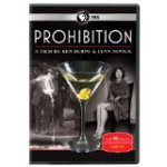 DVD cover of Prohibition shows a martini glass and black and white images of people, one of whom is pouring out illegally made alcohol