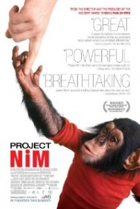 DVD cover of Project Nim shows a young chimpanzee wearing a red shirt and holding onto the finger of a person out of sight.