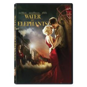 DVD cover of Water for Elephants shows the male and female lead actors embracing against a circus backdrop