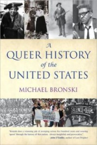 "Title says ""A Queer History of the United States."" Several historical photographs line the top and bottom."