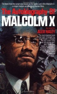 Predominant is a drawing of Malcolm X's face