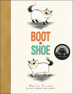 """Two illustrated cats facing opposite directions with the title """"Boot & Shoe"""""""