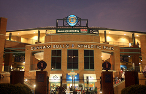 Photo shows the front entrance to the Durham Bulls Athletic Park
