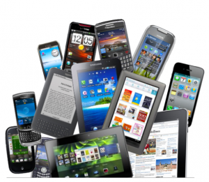 A collage of various devices like phones and tablets.