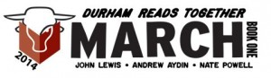 "A bull reads a red book. Text says, ""2014 Durham Reads Together March: Book One. John Lewis. Andrew Aydin. Nate Powell."