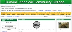 Screenshot of a LibGuide, with tabs indicating DVD genres.
