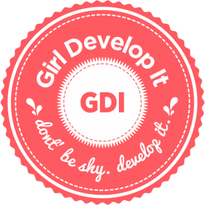 "Peach logo says, ""Girl Develop It. don't be shy. develop it."""