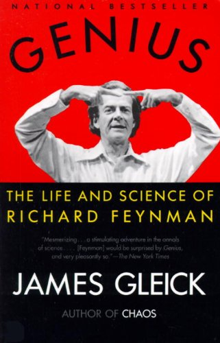 A black and white picture of Richard Feynman against a red background