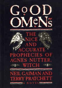 """Black background with white title, """"Good Omens."""" The red subtitle says, """"The nice and accurate prophecies of Agnes Nutter, witch"""""""