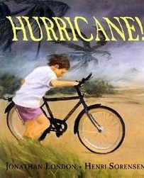 Illustration of a young child pushing a bicycle as strong winds blow