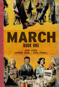 Cover of the graphic novel shows a sit-in at the bottom and a lot of people walking at the top.