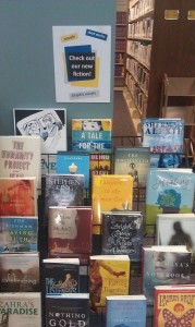 Photograph of a book display featuring fiction books