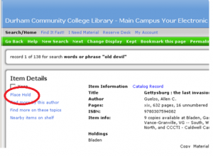 "Screenshot of an item entry in the library catalog with a circle around ""Place Hold"" on the left side."