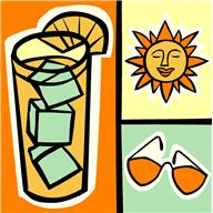 Orange, yellow, and green clipart shows an iced beverage on the left, a smiling sun in the top right, and a pair of sunglasses in the bottom right.