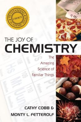 "Photographs of different chemical reactions to the right of the title, ""The Joy of Chemistry"""