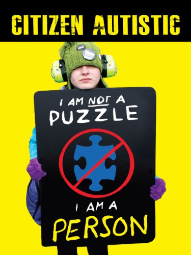 """Citizen Autistic. A boy holding a sign that says, """"I am not a puzzle, I am a person."""""""