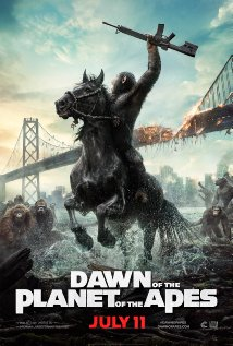 Dawn of the Planet of the Apes. And ape riding a horse is holding up his arm with a gun in his hand.