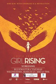 Girl Rising. Art depicting two hand lifting the outline of a girl.