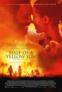 Half of a Yellow Sun. A man and woman smiling while facing each other.