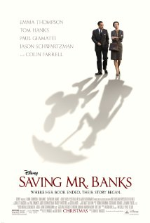 Saving Mr. Banks. A man and a woman walk while their shadows are of Mickey Mouse and Mary Poppins.