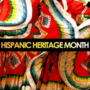 Hispanic Heritage Month graphic image of colorful dresses