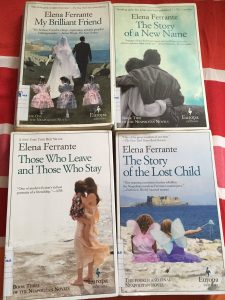 The Neapolitan novels (My Brilliant Friend, The Story of a New Name, Those Who Leave and Those Who Stay, and The Story of the Lost Child) by Elena Ferrante book covers