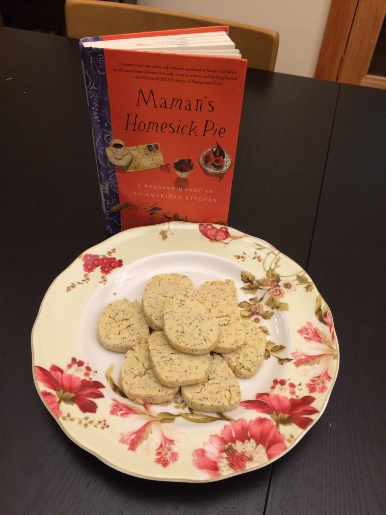 Orange Cardamom Cookies with book.