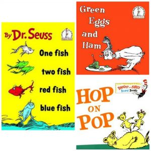One Fish, Two Fish, Red Fish, Blue Fish, Green Eggs & Ham, and Hop on Pop by Dr. Seuss book covers