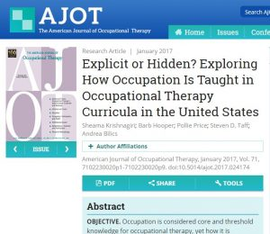 American Journal of Occupational Therapy artiicle Explicit or Hidden? Exploring how Occupation Is Taught in occupational Therapy Curricula in the united states screen grab