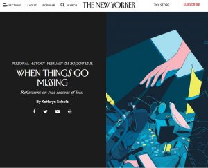 New Yorker article When Things Go Missing screen grab