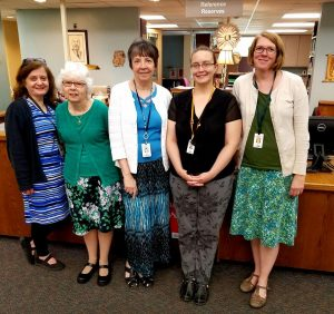 Irene with some library staff, May 2017