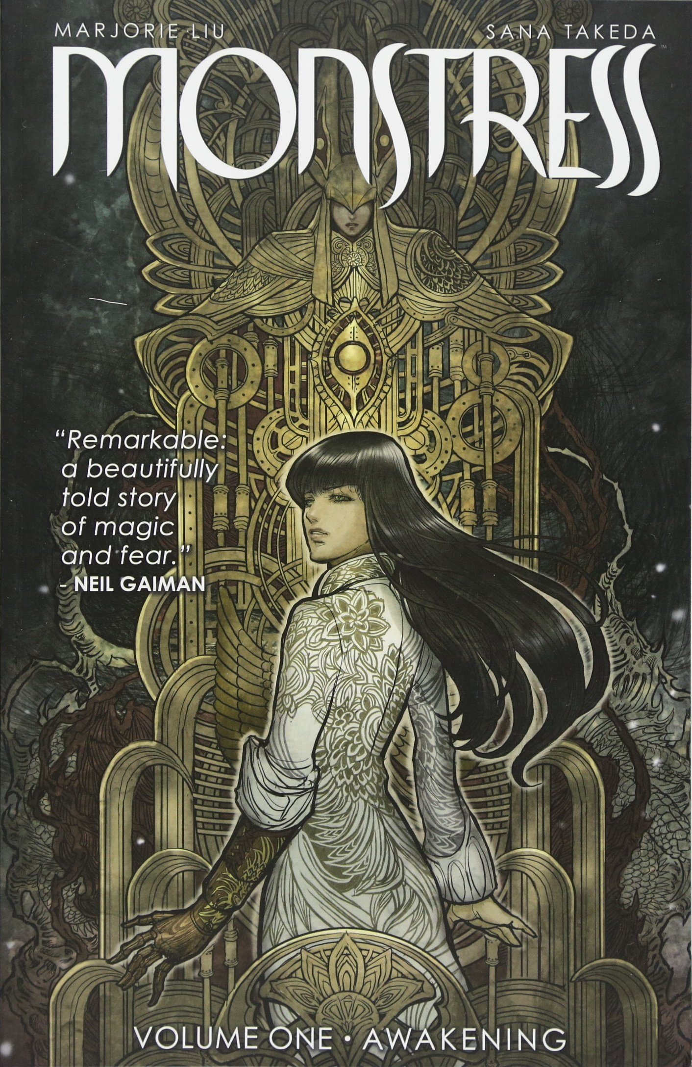 monstress vol 1 by Marjorie Liu and illustrated by Sana Takeda book cover