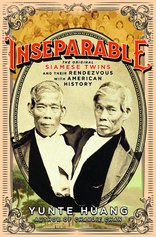 Photo of Siamese twins in an old circus style.