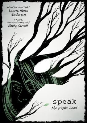 Creepy tree stretches across the page with a girl inside.