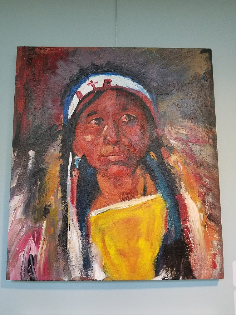 "Emmanuel Oquaye ""Portrait of Native American"" after Nicolai Fechin"