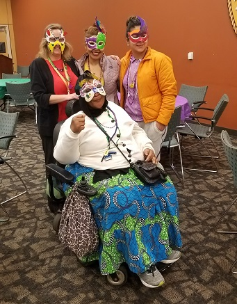 students wearing masks they created