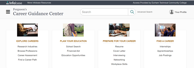 Ferguson's Career Guidance Center landing screen: Explore Careers, Plan your Education, Prepare for your Career, Find a Career