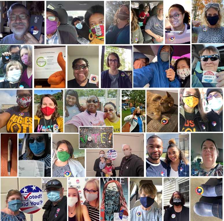Durham Tech Early Voting pictures and Selfies, including some pens, thumbs up, and celebratory shoes. We voted!
