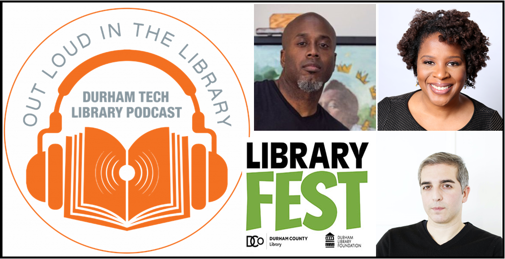 Out Loud in the Library Logo, Library Fest Logo, and pictures of upcoming podcast guests.